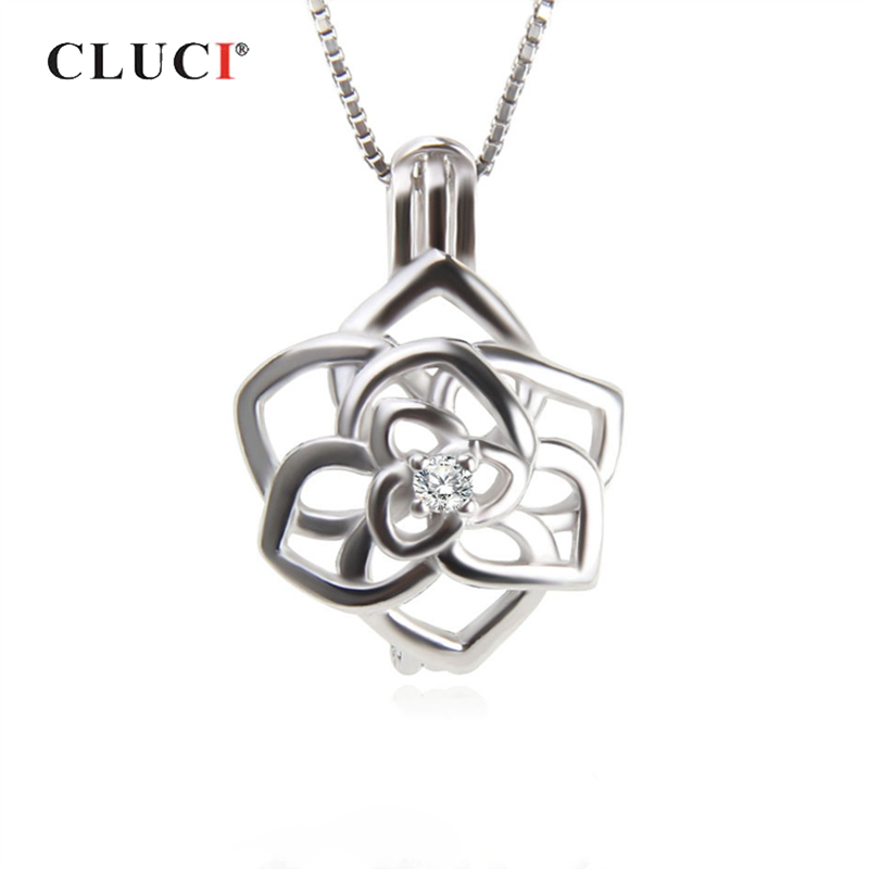 CLUCI 925 Sterling Silver Beautiful Flower Charms Pendant Women Jewelry Real Silver 925 Flower Pearl Cage Locket SC310SB