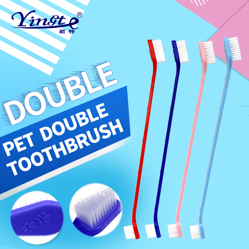 10PCS <font><b>dog</b></font> toothbrush cat toothbrush Pet Toothbrush animal toothbrush double head Pets Oral Care Package image