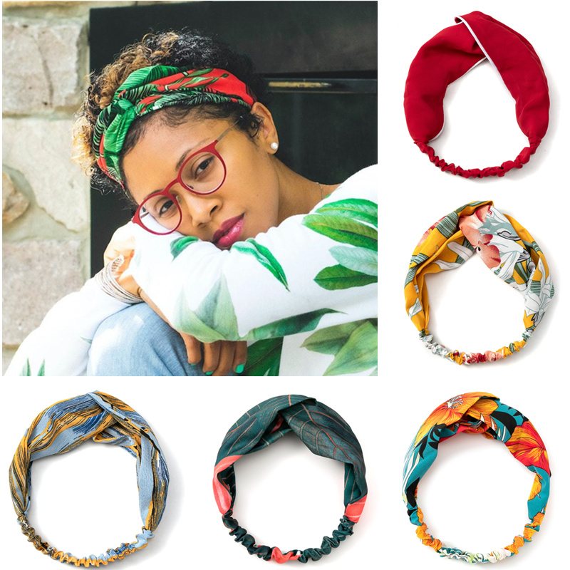 Diademas de estilo bohemio para mujer, turbante cruzado para niña, Bandanas, accesorios para el cabello 2021
