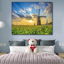 Laeacco Canvas Painting Calligraphy Sunflowers Sky Posters Prints Pastoral Windmill Wall Art Picture for Living Room Home Decor