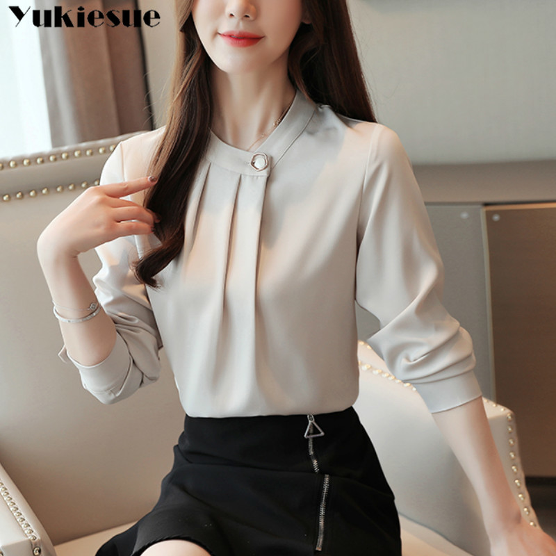 fashion womens tops and blouses stand collar office blouse women chiffon blouse shirt female long sleeve women shirts blusas 5