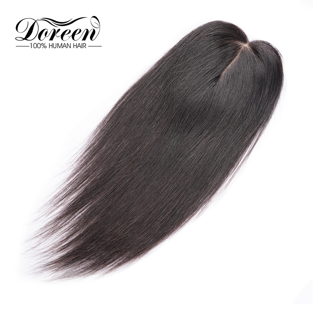 Doreen 12 Inches 7*12  Lace PU Hair Topper Toupee For Women Pure Color Hair Pieces With 3 Clip-in Remy Human Hairpieces