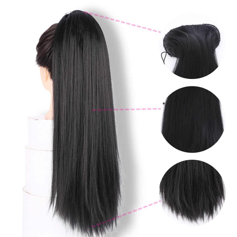 """Ailiade moda 50cm 20 """"long yaki reta cordão rabo de cavalo peruca falso pônei cauda grampo sintético em extensões de cabelo"""