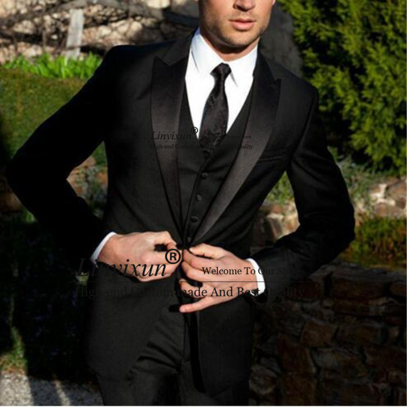 2020 High Quality Men Suit Black Groom Tuxedos Groomsmen Morning Style Tuxedos For Men Wedding Suits Prom Formal Bridegroom Suit
