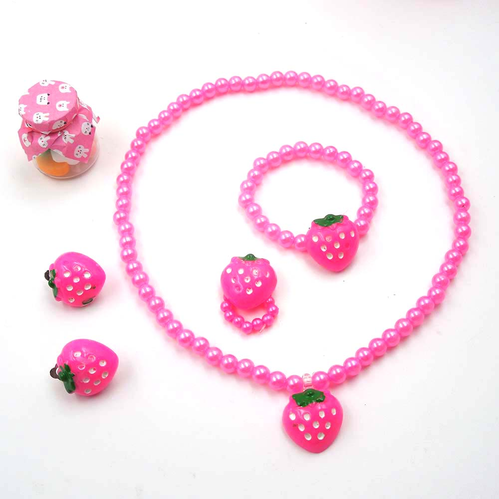 Pink Date Fruit Jewelry Set Fruit Necklace Fruit Earrings Vacation Children/'s Jewelry Teenager Gift in Box Girl Neckace Berry Earrings QS15