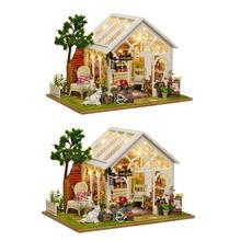 DIY Кукольный дом деревянный миниатюрный кукольный домик мебель комплект игрушка Солнечный цветок головоломки дома ручной работы собранная модель подарок на день рождения