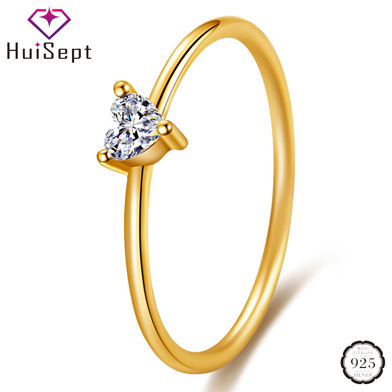 HuiSept Fashion 925 Silver Jewelry Ring for Women Heart-shaped AAA Zircon Gemstones Ornaments Gold Color Rings Wedding Wholesale