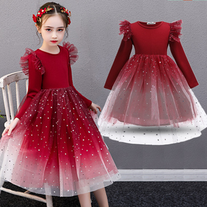 Girls Dress Christmas Princess Costume Long Sleeve Autumn Dress for Girls Frocks Dress Graduation Gown Kids Children Casual Wear