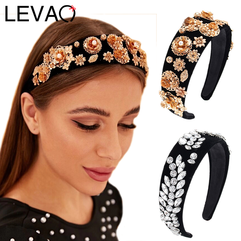 LEVAO Rhinestone Hairband Wide Size Headband Bezel Turban Women Bohemian Style Elegant Girls Hair Accessories Headwear Head Hoop
