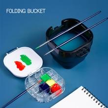 Watercolor Palette Box Folding Bucket Artist Paint Palette 16 Airtight Deep Wells Airtight for Watercolors, Gouache, Acrylic