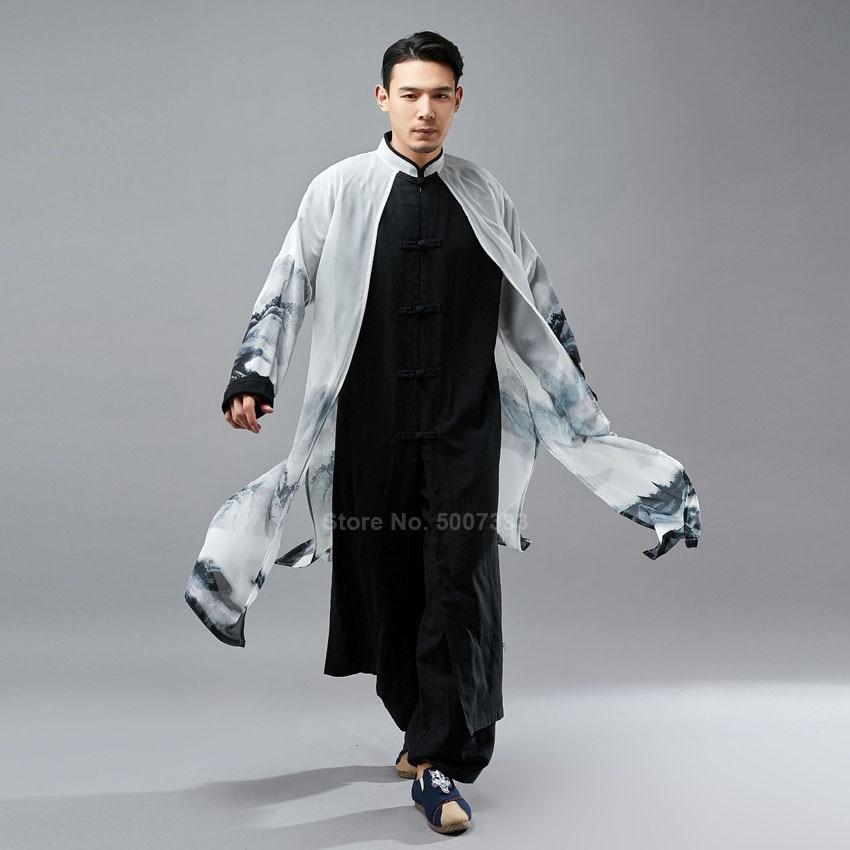 Long Linen Robe Chiffon Cloak Fake 2PCs Traditional Chinese Tang Suit For Men Oriental Retro Kungfu Suit Hanfu Shirt Gown