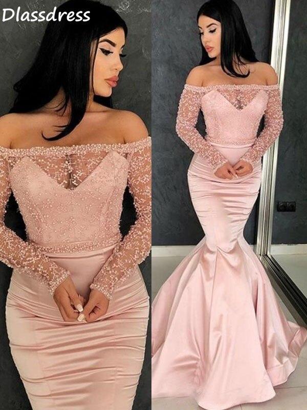 Pink Off Shoulder Prom Dress Mermaid Boat Neck Bead Top Sexy Floor Length Long Illusion Sleeves Evening Dress коктейльные платья