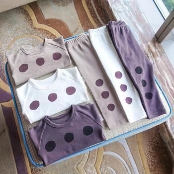 2020 nueva moda conjuntos de niños ropa de bebé chicas chicos niños de manga larga de algodón de Primavera Verano otoño pijama con pantalones