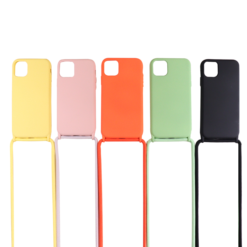 Liquid Silicone Phone Case For iPhone 11 Pro Max 6 7 8p X XR XS SE2020 Crossbody Necklace Strap Soft Flocking Cover with Lanyard