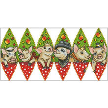 New year's pig patterns counted cross stitch 11ct 14ct 18ct