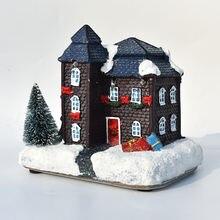 Innodept 12x9x11 см Смола Рождественская сцена деревенские дома