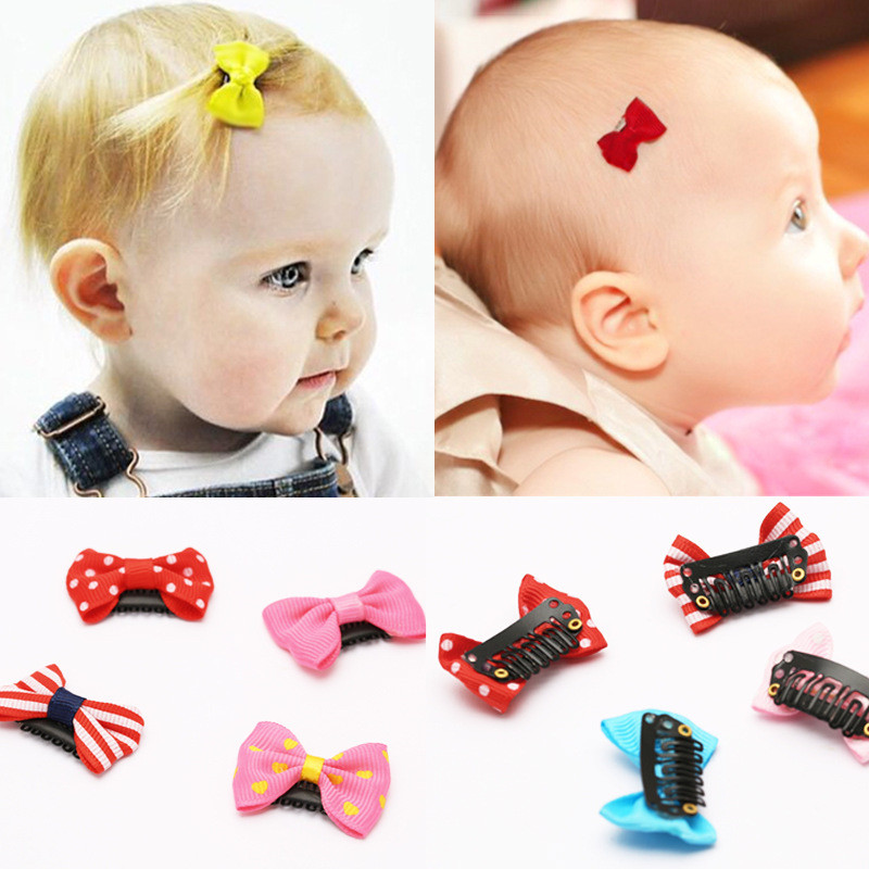 20pc Little Bow Ribbon Bows Babies Fine Wispy Hair Mini Latch Wisp Clip Newborn Small Hair Clip Infant Hairbows Hairpin