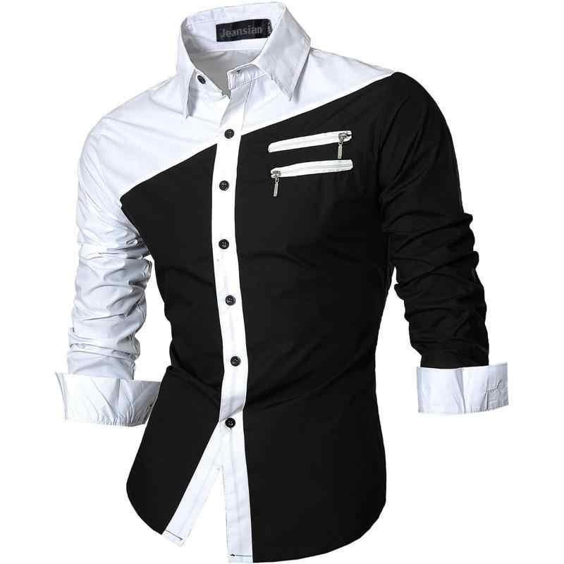 Jeansian hommes tenue décontractée chemises mode Desinger élégant à manches longues coupe étroite 8615 Navy2