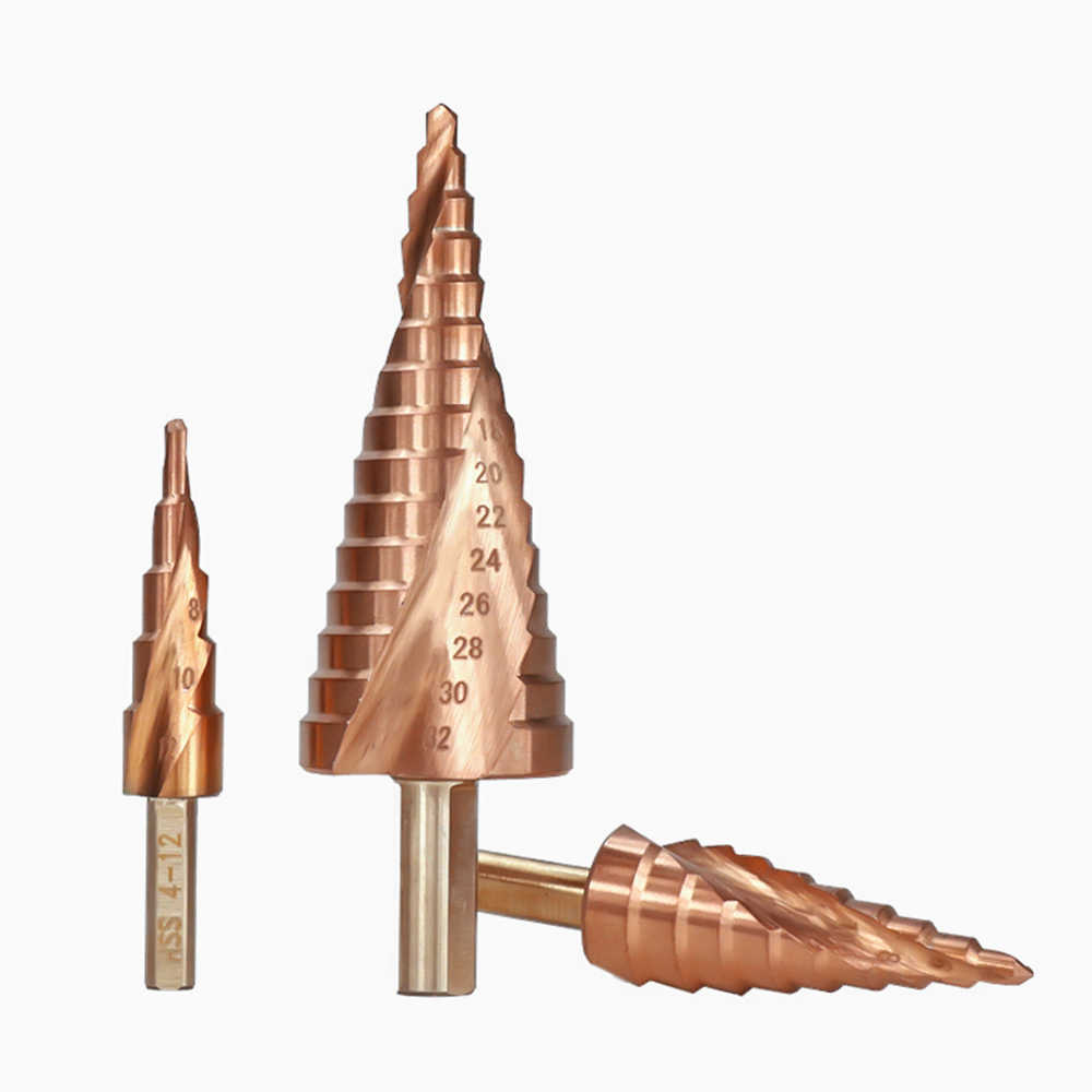 3 قطعة 4-12/20/32 مللي متر P6M5 سوبر كربيد PVD TiNC طلاء دوامة مخدد مركز حفر كربيد من الصلب بت HSS خطوة مخروط مثقاب