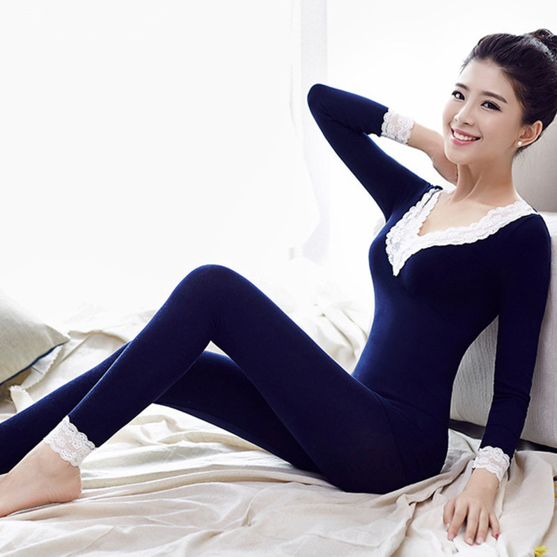 V-Neck Sexy Elegant Black Winter Thermal Underwear Set Women Lace Patchwork Slim Warm Female Suit Basic Thin Thermos Long Johns