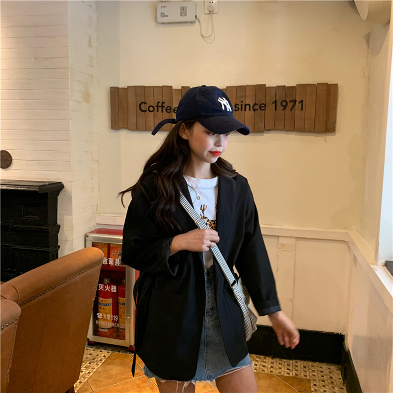 Women Blazer Spring Autumn New Korean Loose Wild Thin Leisure Suit Coat Female Solid Color Without Buckle Belt Fashion Suit A082