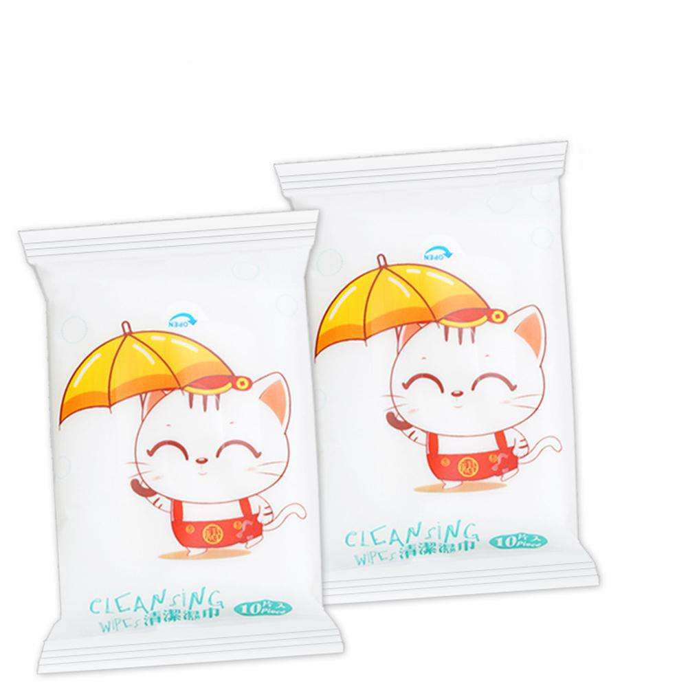 10 Pcs/bag Portable Cleaning Wipes Face Hand Care Wet Wipes