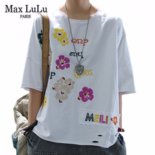 Max LuLu New 2020 Summer Korean Fashion Style Womens Floral Tee Shirts Ladies Embroidery Cotton