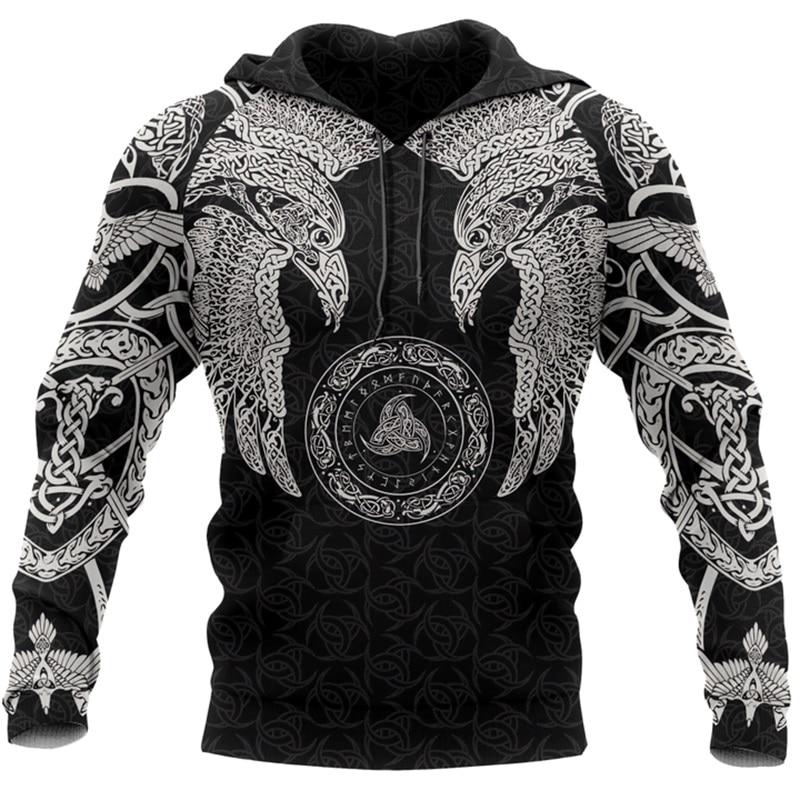 PLstar Cosmos crazy pattern odin Viking Tattoo 3D Printed Men hoodies Harajuku Hooded Sweatshirt Autumn Fashion hoodie tops-2