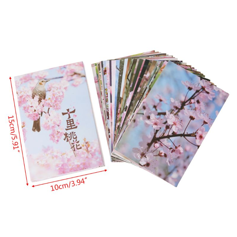 30 Sheets Peach Blossom Paintings Retro Vintage Postcard Christmas Gift Card Wish Poster Cards