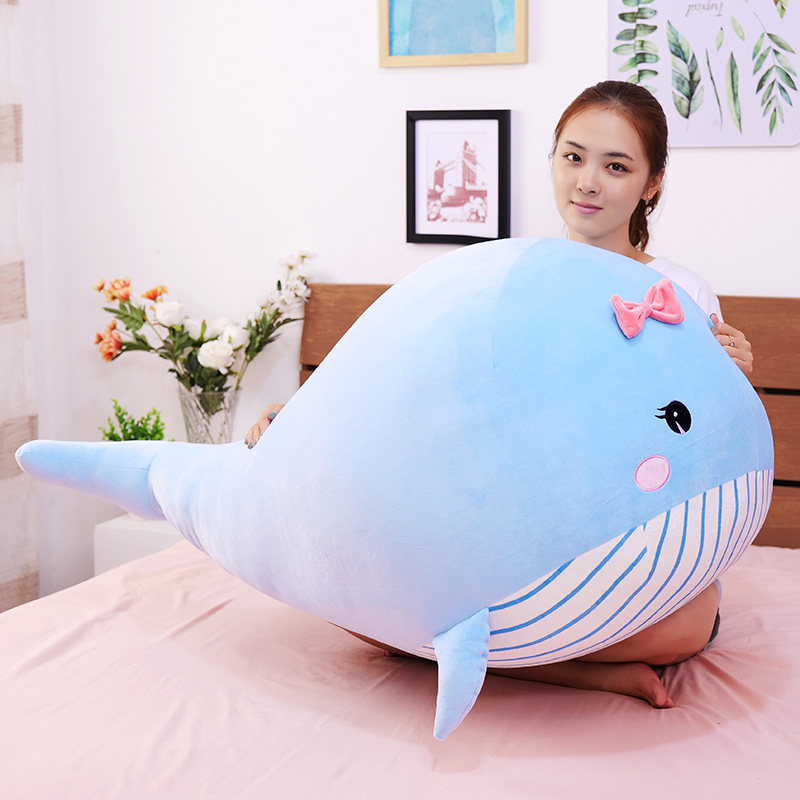 Giant Cute Cotton Whale Plush Toy Super Soft Dolphin Fish Pillow Stuffed Toys High Quality Aquatic Creatures Valentine's Gift