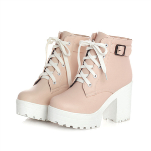 Image 2 - Autumn Winter Martin Boots Boots Women Round Toe Buckle Shoes Women High Heel Fashion Plus Size Square Heels Lacing 3 Colors