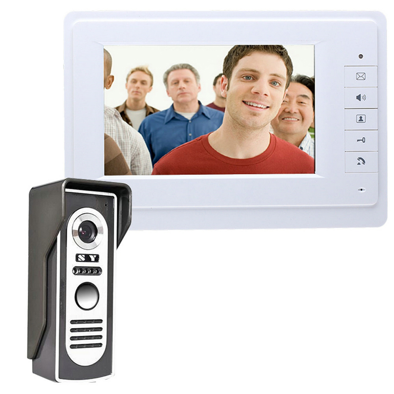 7 Inch Wired Video Door Phone Doorbell Intercom Kit With Rainproof 700TV Lines Night Vision Camera 819M