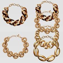 Girlgo Горячая Мода ZA панк женские ожерелья-Чокеры винтажные Макси золотые металлические массивные ожерелья очаровательные вечерние ювелирные изделия аксессуар для тела