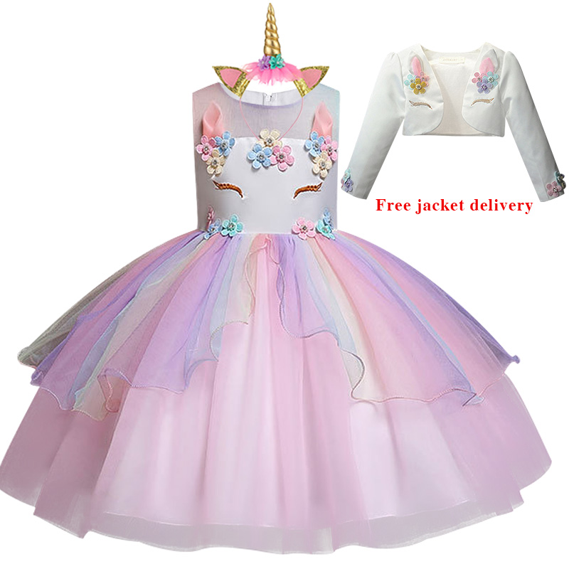 H836e0eab1ed3448b80f4967f41093dddJ New Unicorn Dress for Girls Embroidery Ball Gown Baby Girl Princess Birthday Dresses for Party Costumes Children Clothing