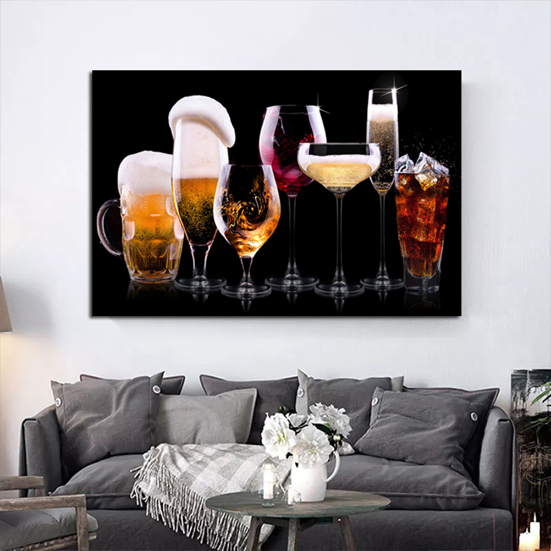 Frame Colorful Juice Wine  Wall Art Canvas Painting Pictures Colorful Picture For Kitchen Home Decoration