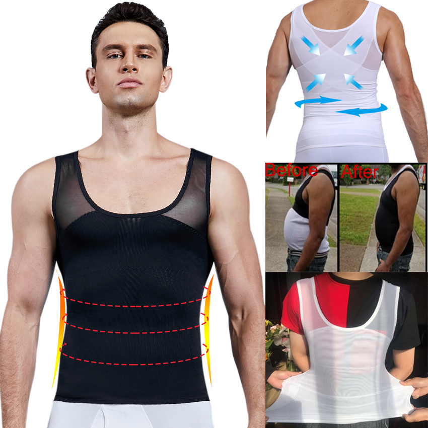 Men/'s Slimming Body Shaper Vest Chest Compression Shirt Abs Abdomen Slim Tops