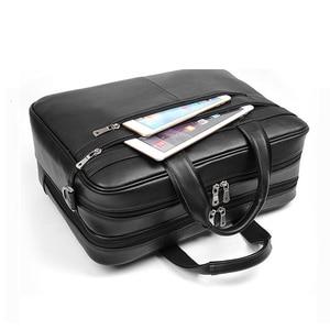 "Image 1 - Large Capacity Black Men Business Computer Briefcase Soft Genuine Leather 17"" Laptop Handbag Male Cowhide For Macbook Pro Air 17"