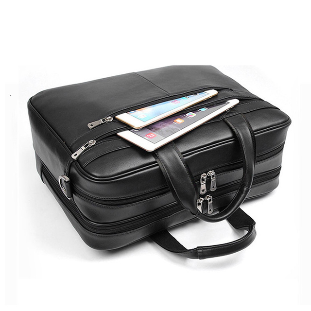 "Large Capacity Black Men Business Computer Briefcase Soft Genuine Leather 17"" Laptop Handbag Male Cowhide For Macbook Pro Air 17"