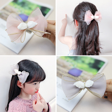 1pc Sweet Big Bow Baby Girls Chiffon Hairpins Gold Wire Candy Color Princess Hair Clips Accessories