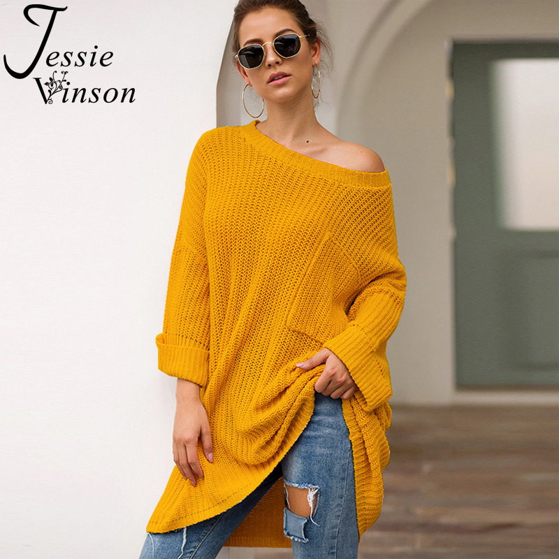 Jessie Vinson O-neck Casual Oversize Long Pullover Sweater Women Loose Plus Size Knitted Sweater Jumper Autumn Winter Knitwear