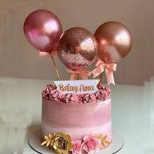 Metal Rose Gold Balloon Cake Topper Happy Birthday Cake Flag for Baby Shower Wedding Cake Decorating Kids 1st Birthday