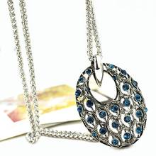 Hollow Out Oval Crystal Long Necklace Women Pendants 2019 New Vintage Jewelry Collares Dress Accessories vintage solid color hollow out necklace for women