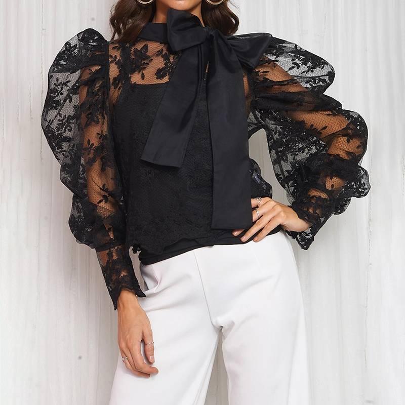 Printemps été 2019 femmes dentelle Blouses chemise transparent maille transparente bouffée à manches longues tenue de club hauts Blusas Vintage tunique noir