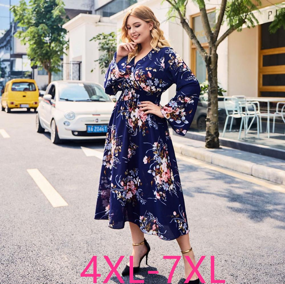 2019 Fashion Autumn Winter Plus Size Long Dress For Women Loose Elastic Casual Large V Neck Flower Dresses Blue 4XL 5XL 6XL 7XL