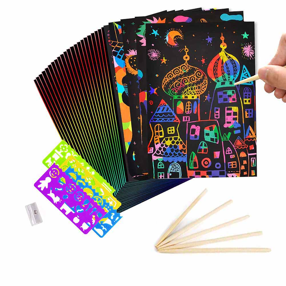 50 Sheets Magic Color Rainbow Scratch Art Paper Card Set With Graffiti Stencil & Drawing Rulers & Pencil Sharpener DIY Painting
