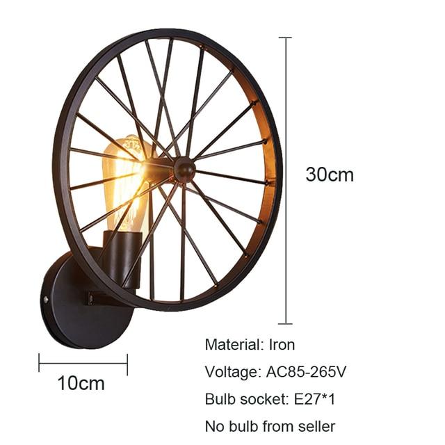 Creatieve Industrieel Fietswiel wandlamp 2