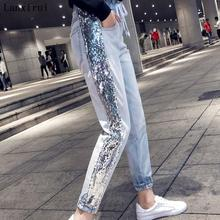 New Women High Waist Jeans Denim Striped Jeans For Female Jeans Pants Blue Patchwork Pants Skinny Jeans 2136 цена 2017