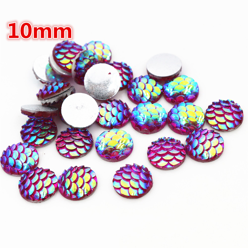 10mm 40pcs/Lot Rose Red AB Colors Fish Scales Style Flat Back Resin Cabochons For Bracelet Earrings Accessories-O2-13