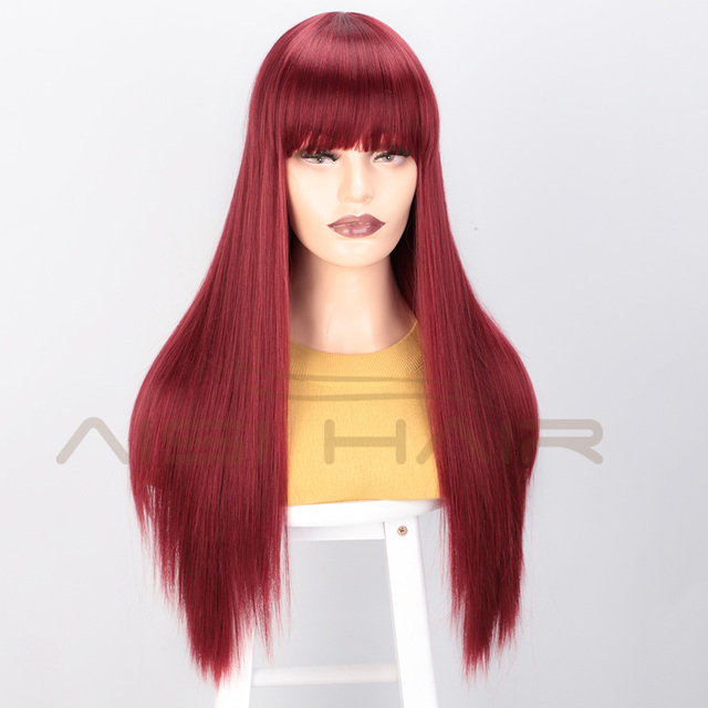 I's a wig Black Long Straight Wig With Bangs Synthetic Hair Wigs for Women 613 Blonde Red Heat Resistant Cosplay Wigs 4