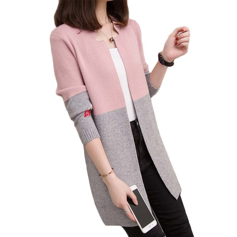 New 2019 Autumn Women Sweaters Mid-Long Color Matching Knitted Sweaters Cardigans Coats Casual Loose Female Tops Spring Jackets